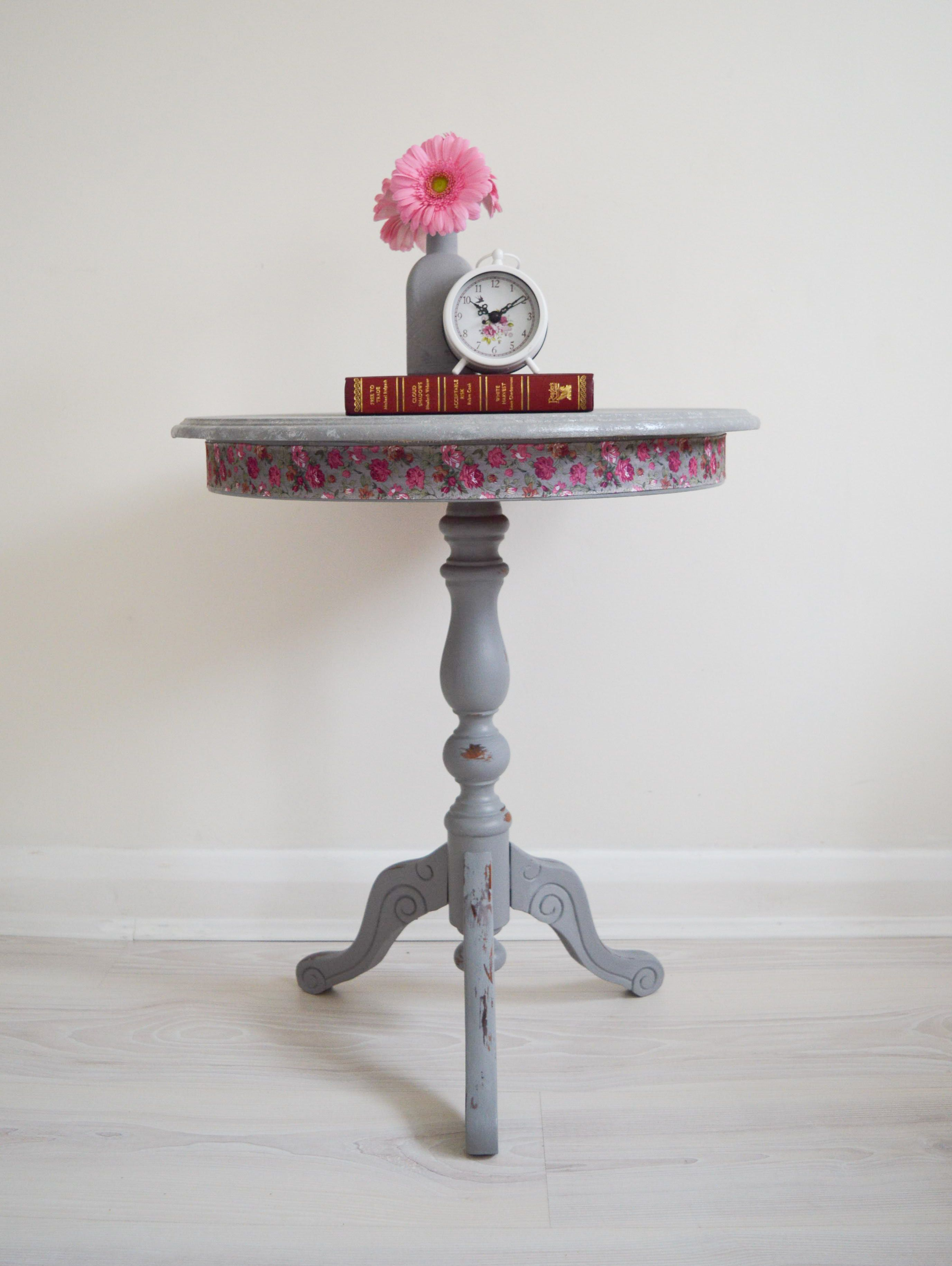 Grey side table wooden round coffee table side end table