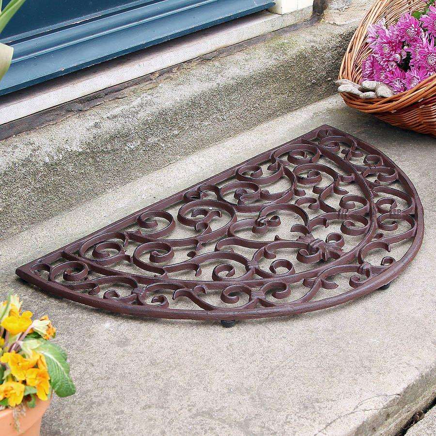 Heart Half Moon Cast Iron Door Mat