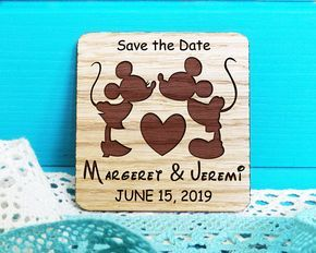 Save-the-Date Magnets-Wooden Engraved Save the Date- Oak the Date-Wedding Magnet-Mickey and Minnie Save the Date-Mickey Mouse Wedding