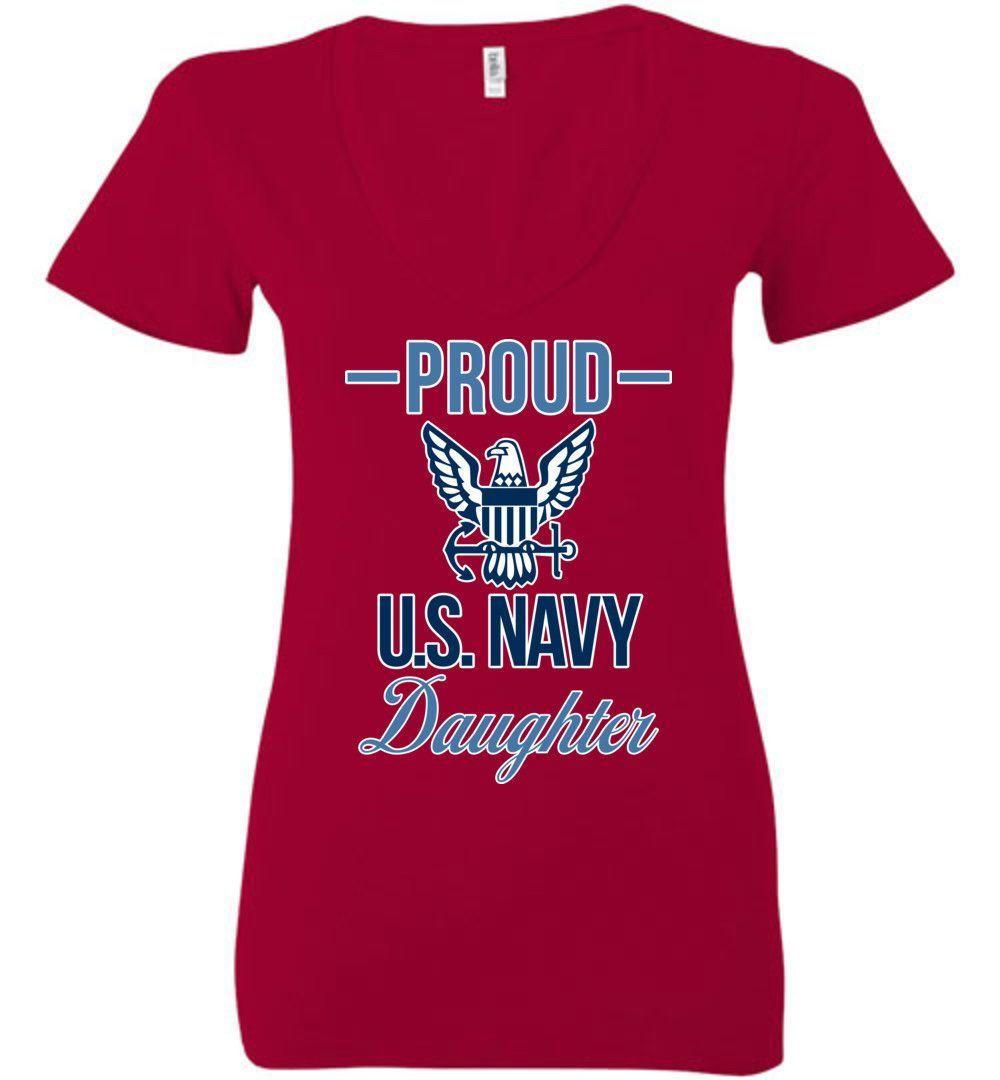 Proud U.S. Navy Daughter Women's Deep V-Neck Tee