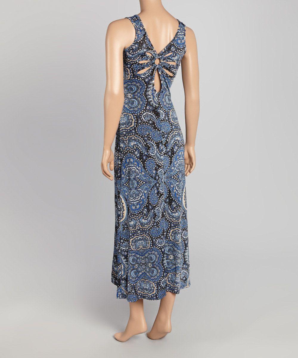 Jessica taylor blue paisley cutoutback maxi dress zulily stuff