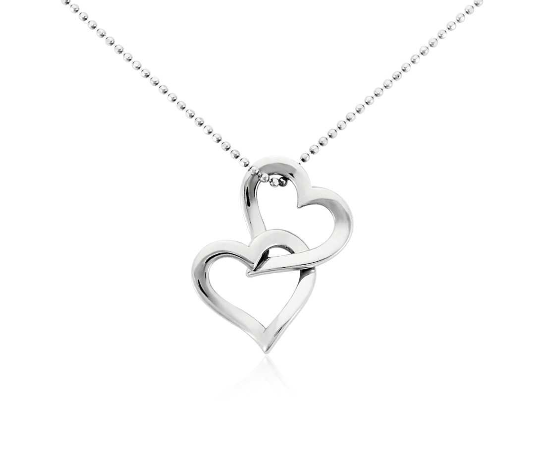 Double heart pendant in platinum dangles chains and bling double heart pendant in platinum aloadofball Images