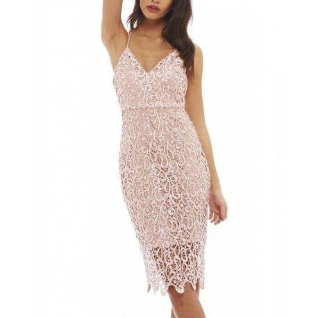28b2c06031 Pastelowa różowa koronkowa sukienka midi na ramiączkach