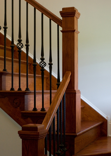 How To Paint Stairwells Wrought Iron Stair Railing Craftsman Staircase Painted Stair Railings