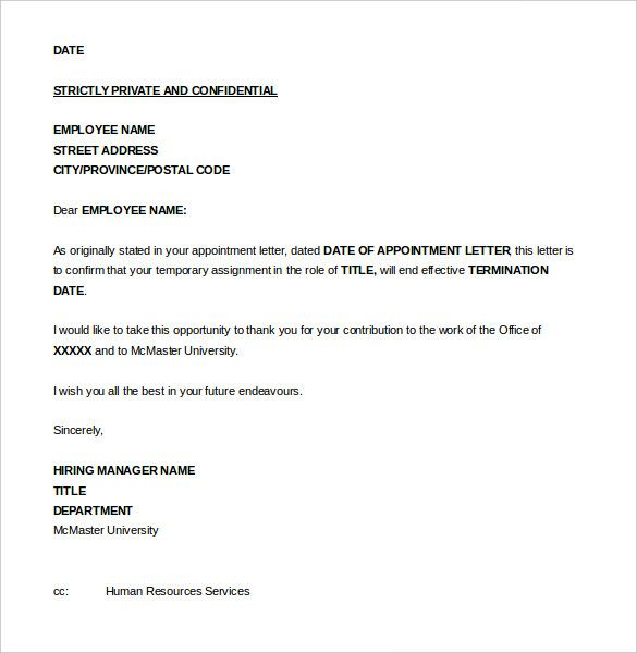 job termination letter templates free sample example format service - sample letter of appointment