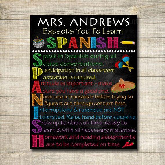Spanish Classroom Rules Printable Poster, Spanish Class ...