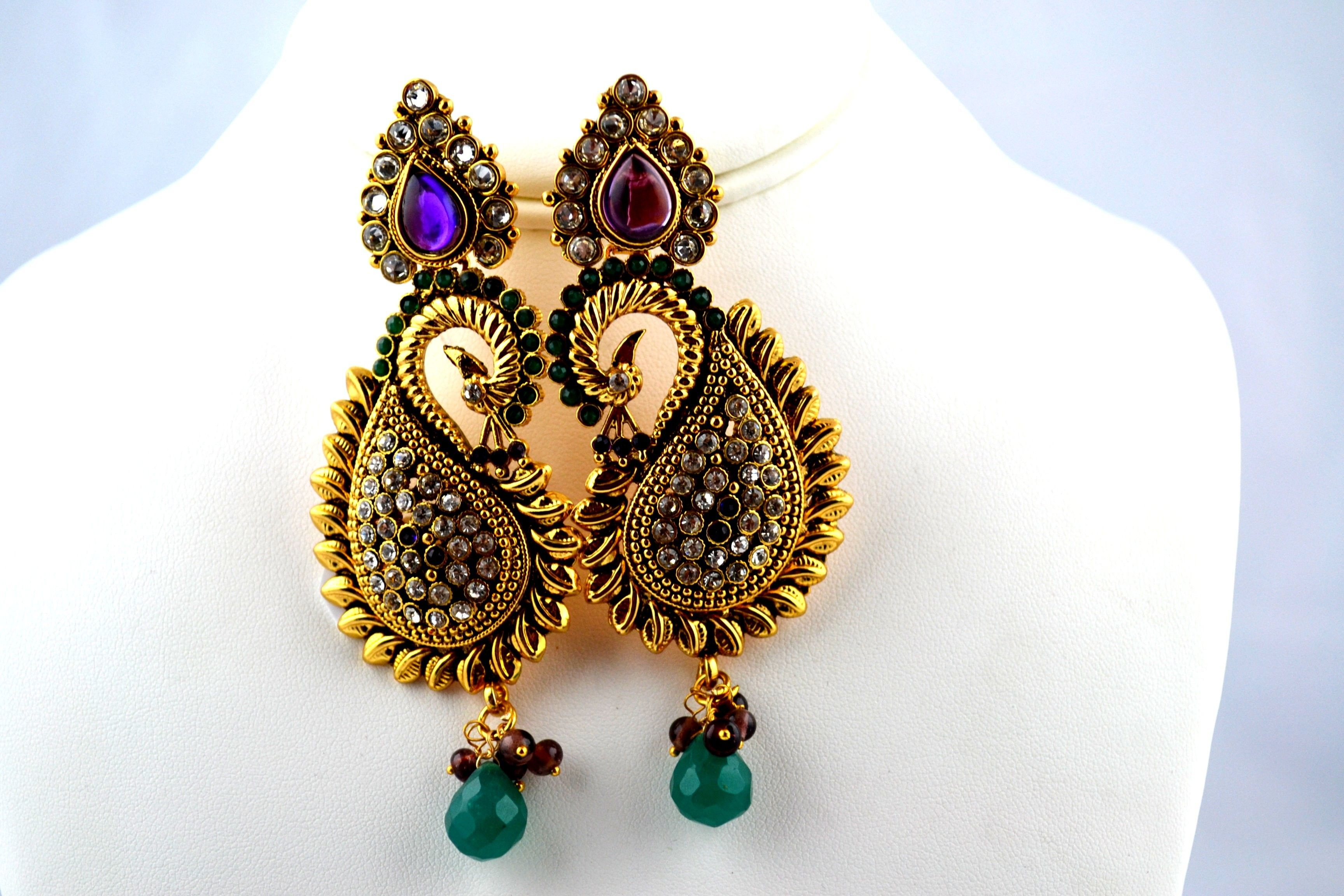 Indian Jewelry Store | Swasam.com: Hanging earring peacock design ...