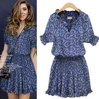 New fashion short-sleeved printed cotton leisure wild V -neck women summer dress