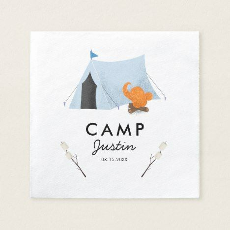 Cute Blue Tent Camping Birthday Party Napkin
