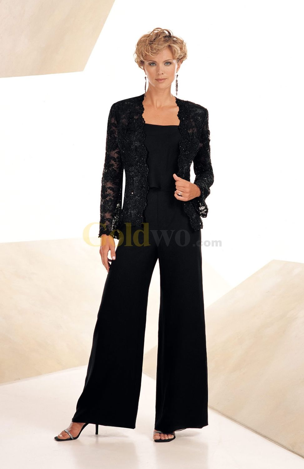 Wedding Table Plus Size Mother Of The Bride Pant Suits high quality three peice elegant black chiffon mother of the bride pant suits plus size onsale