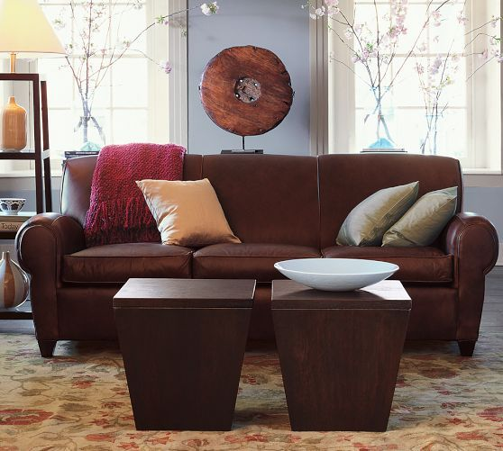 "Manhattan Leather Loveseat 77"", Polyester Wrapped Cushions"