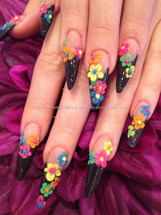 Neon Daisy Nail Art Designs 15 Best 3d Acrylic Nail Art