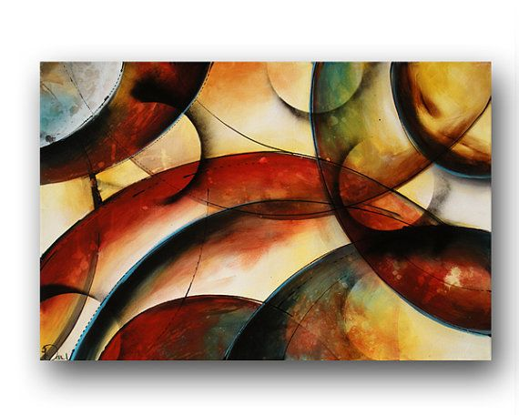 Circle Painting on Canvas Red & Blue Painting Natural Colors Earthy Colors Large Abstract Painting Original Modern Art 36x24 by Heather Day on Etsy, $325.00