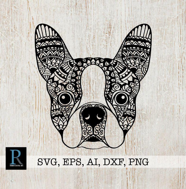 Download Zentangle Boston Terrier SVG, Mandala Boston Terrier SVG ...