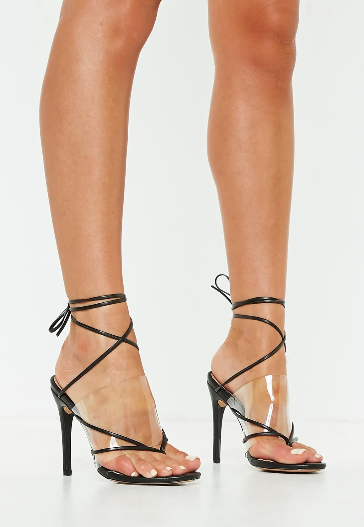 179728a2d18 Missguided - Black Clear Strap Lace Up Heeled Sandals