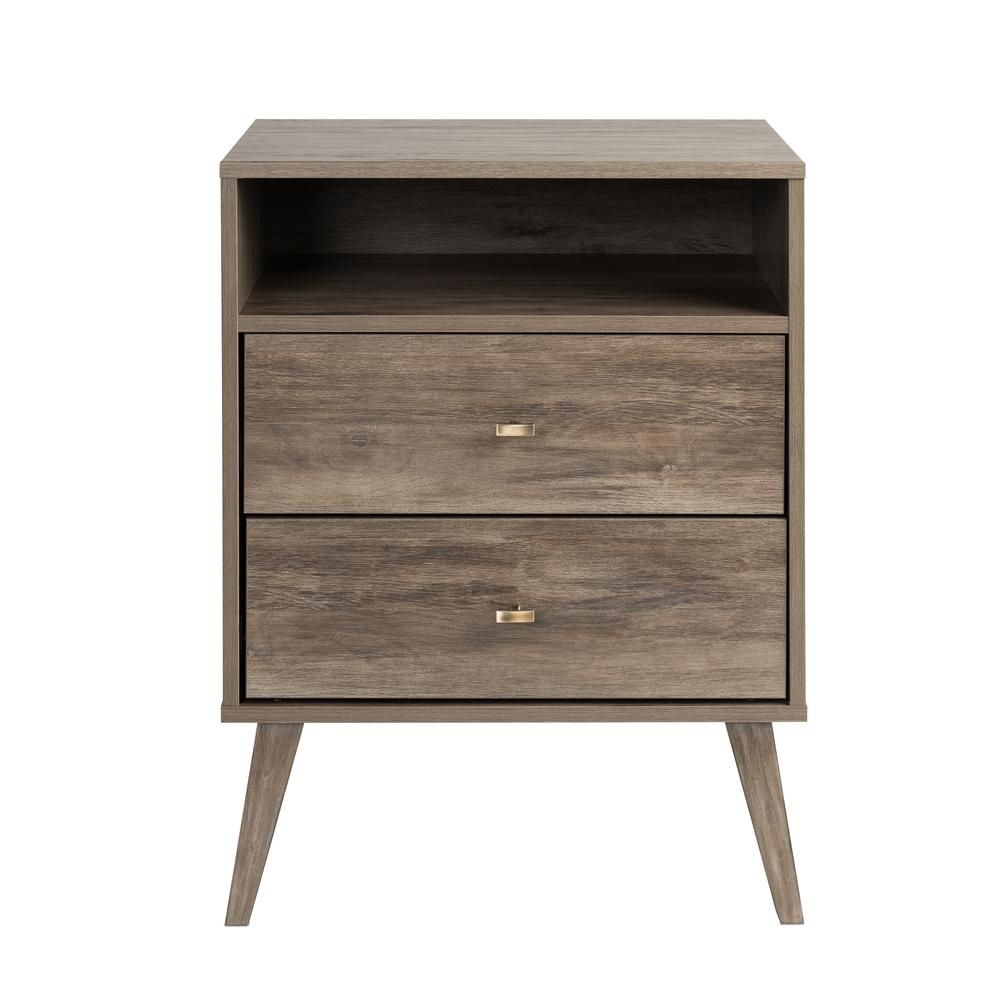 Best Prepac Milo Mid Century Modern 2 Drawer Drifted Gray Tall 400 x 300