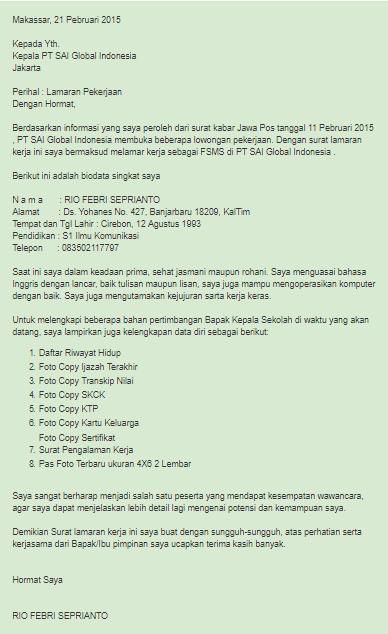 Contoh Surat Lamaran Kerja Di Pt Sai Global Indonesia Contoh Surat Lamaran Kerja D Belajar Surat Kerja