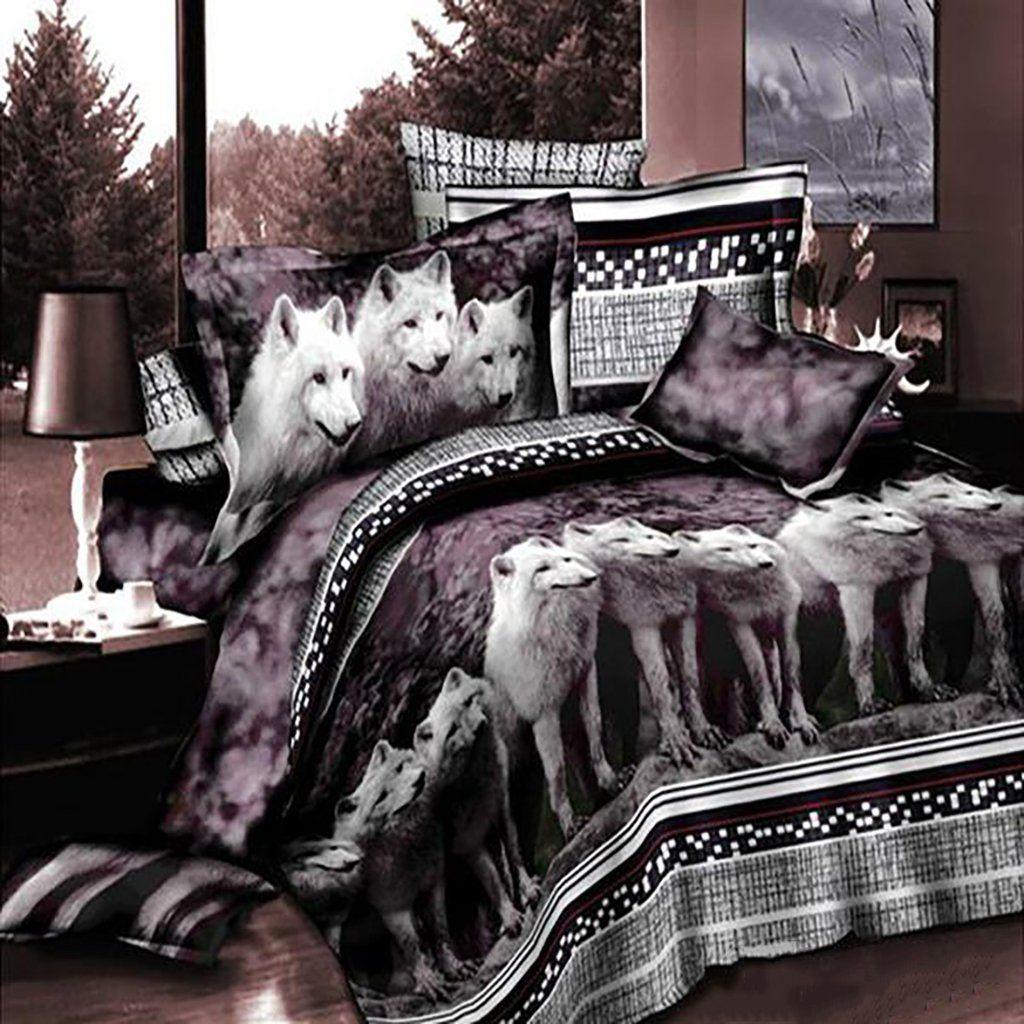 White Wolf Bedding Set | K | Pinterest | Bed sets, Wolf ...