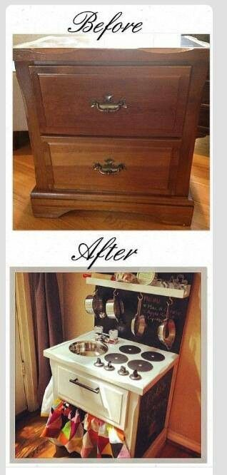 Turn An Old Night Stand Into A Play Kitchen Diy Play Kitchen