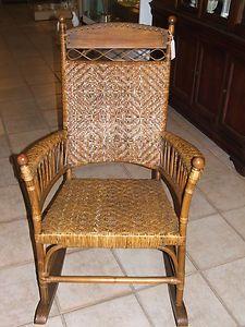 Antique Rattan Wicker Cane Rocking Chair Rattan