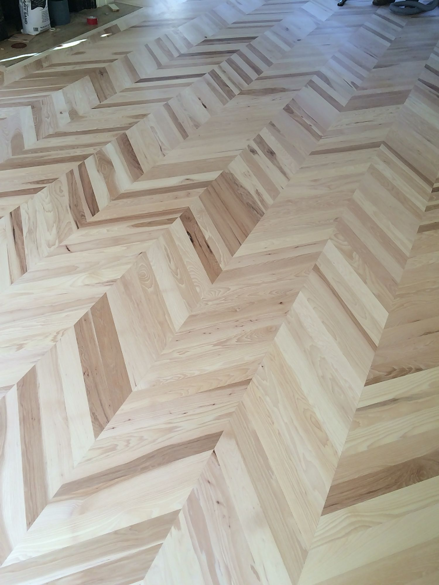Hickory Installed In A Chevron Pattern Chevron Floor