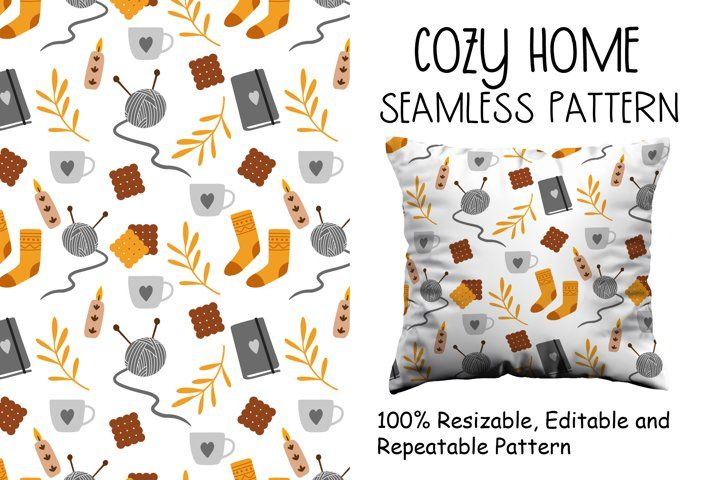 Cozy Home Seamless Pattern #autumn #pattern #seamless #fall #fallpattern #seamlesspattern #cozy #cozypattern #cozyillustration #hygge