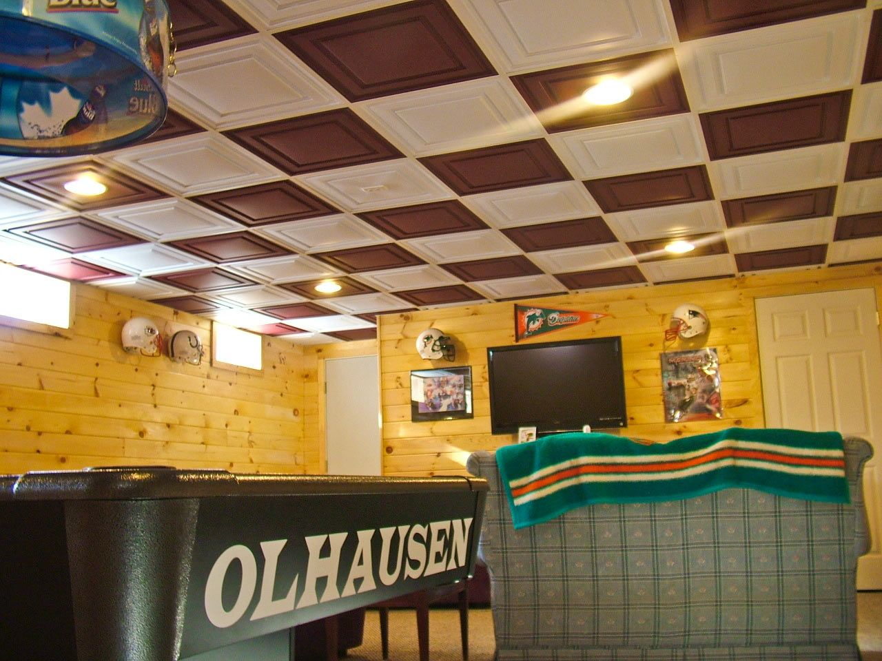 Ultimate Man Cave Check Out These Pvc Ceiling Tiles They Transform The Drop Grid In This Basement Not O Basement Flooring Basement Remodeling Basement Decor