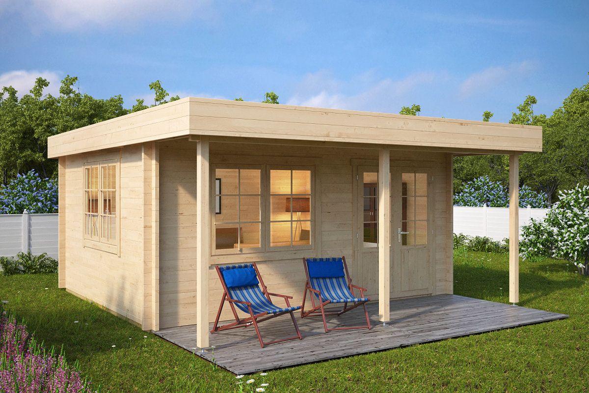 HolzGartenhaus mit Vordach Ian C 18m² / 58mm / 4x5