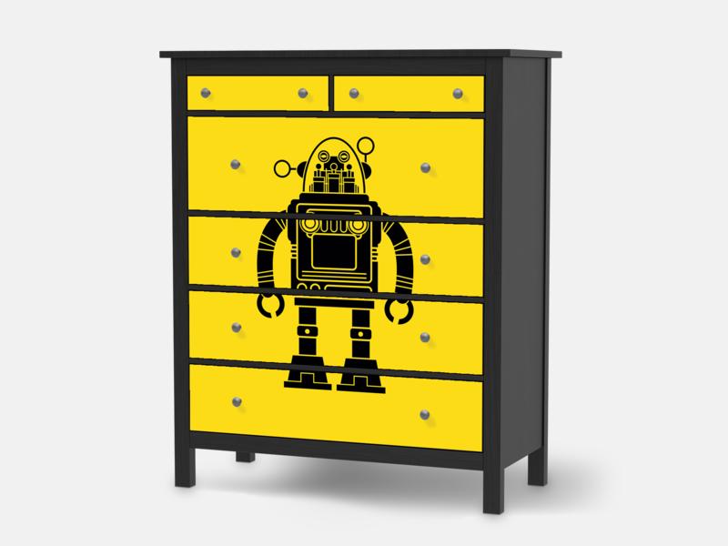 Designfolie Retro Robot für dein Hemnes Kommode 6 Schubladen