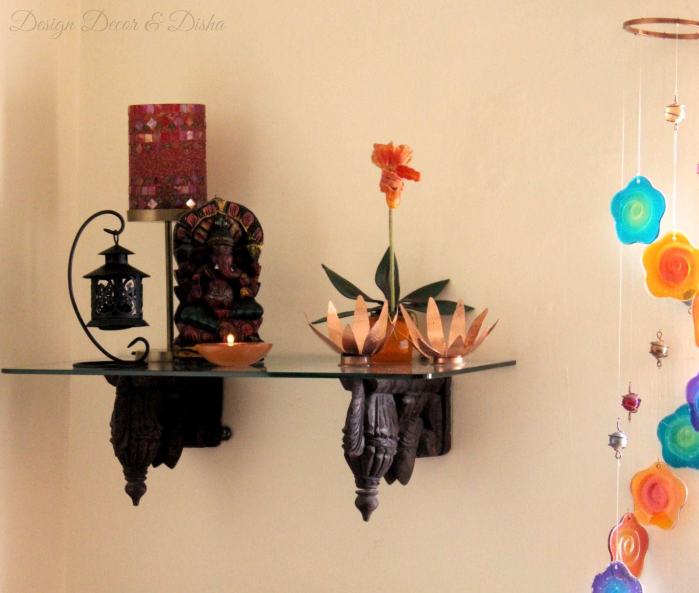 Indian Kitchen Shelves Design: Wooden Corbel & Ganesha