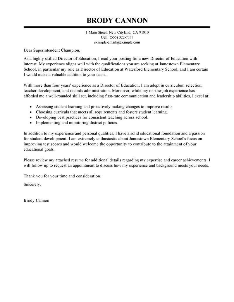 25 Sample Cover Letter For Teacher Leading Professional Director Examples Resources