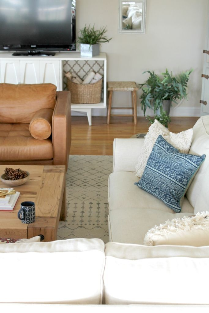 Modern Farmhouse family room- Still love our Ikea Sectional, even after 4 years!!!