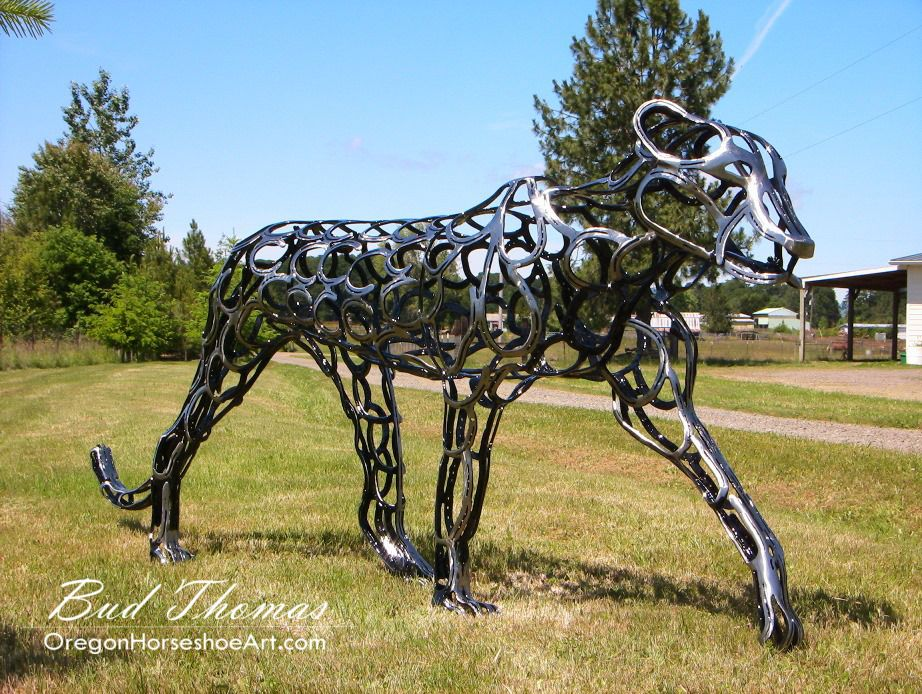 Leopard - Sculpted using 100% recycled horseshoes