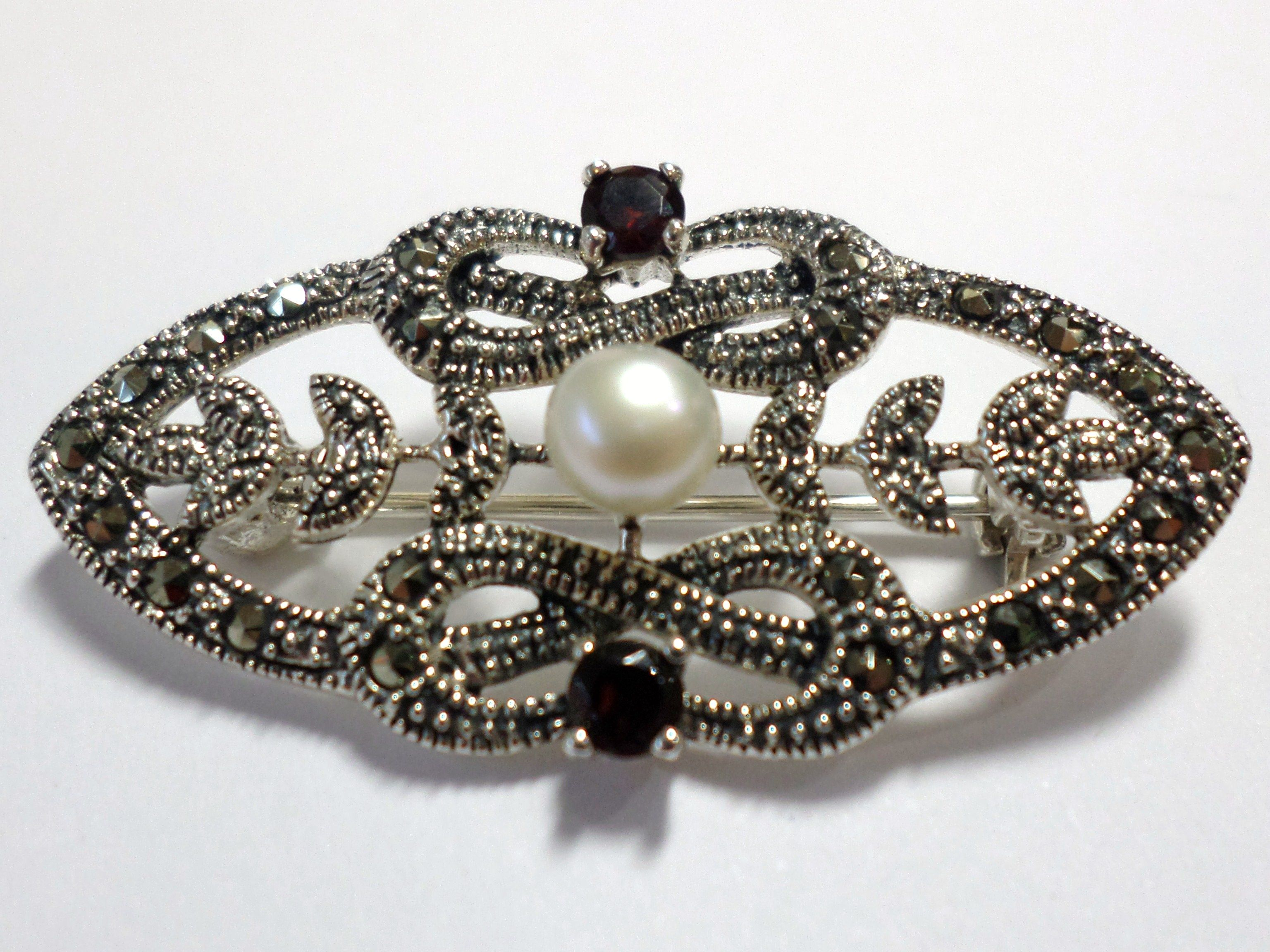 Sterling Silver Brooch Set With Marcasite Garnet And Cultured Freshwater Pearl Vintage Antique Reproduction Jewellery 60 00 Contact Us At Www Facebook Com Ell