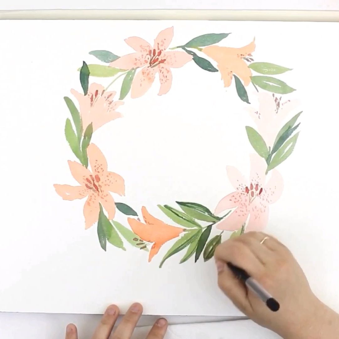 Easy Loose Watercolor Easter Lily Wreath Learn To Paint This