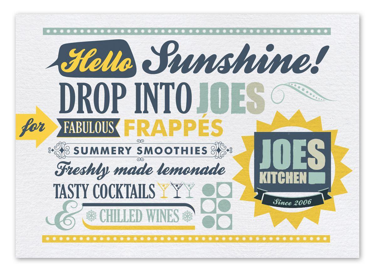 Joes Kitchen, Manchester Summer postcard   Dunk Design Restaurant ...