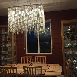 10 Light Modern Contemporary Dining Room Chandelier Rectangular Chandeliers Lighting Dressed With High Quality Crystal