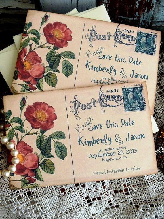 Vintage Postcard Wedding Save The Date Cards By Avintageobsession Ideia Para Cartão De Agradecimento Ou Convite