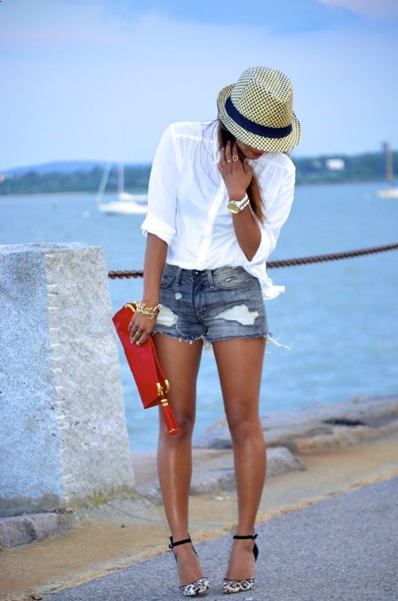 crisp white shirt, fedora, cutoffs  heels - perfect mix of casual and glam