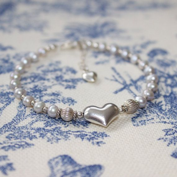 Sterling Silver Freshwater Pearls Kinsey Heart by LitaKinsey, $38.00