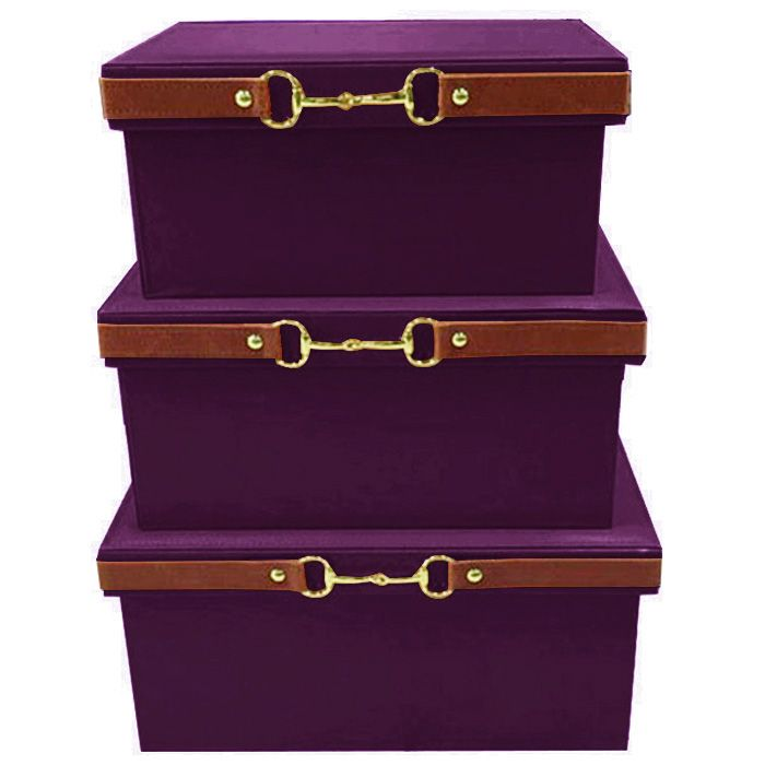 Quality Leather Metal Buckle Storage Box Decoration Coatroom Car Trunk Purplish Red