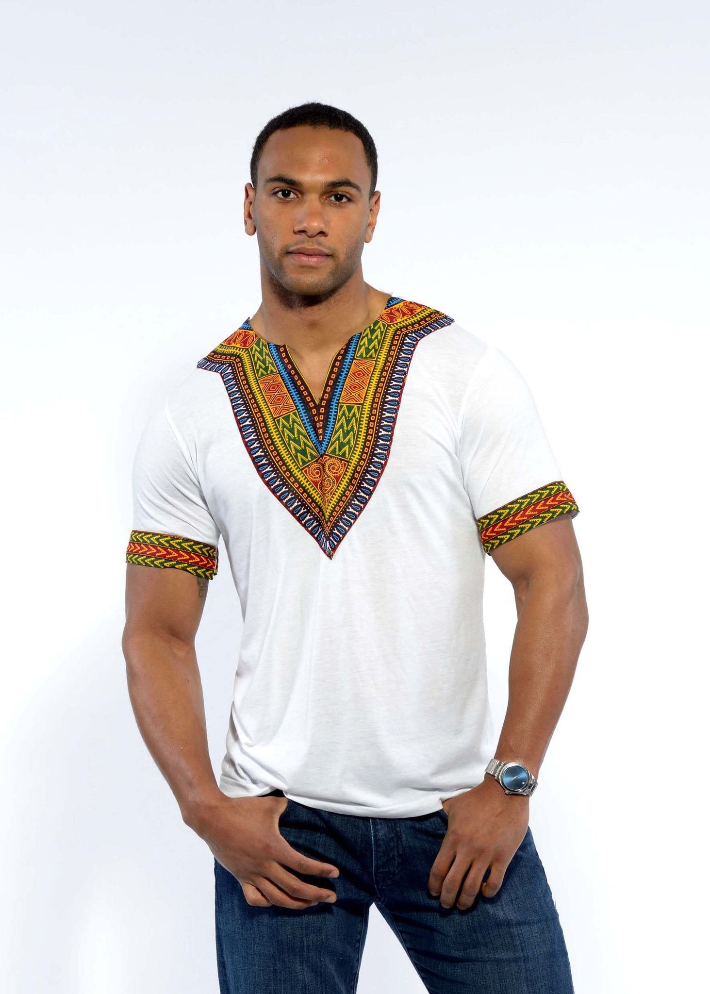 5ad608b3 Men's African Print Dashiki T-Shirt (White) in 2019 | Fashion ...