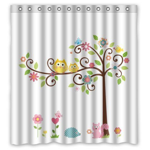 Sea Secret 66x72inches Cute Owls On The Trees With Squirrel Hedgehog Theme Print 100 Polyester Bathroom Shower Curtain S With Images Tree Shower Curtains Shower Curtain Art