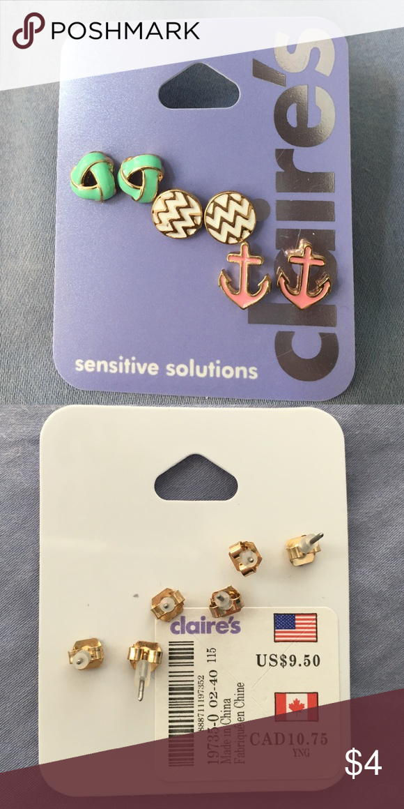 Earrings Brand new, never worn, sensitive solution earrings! A great deal that's perfect for summer! (Gold, white, blue, and pink.) Claire's Jewelry Earrings