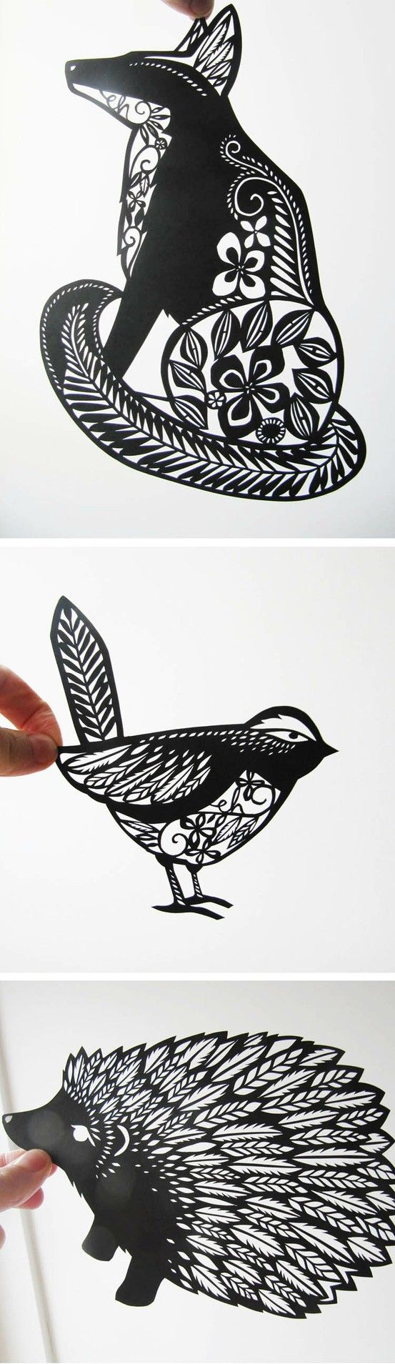 Animal Paper Cut Outs  Emily Hogarth  Black And White Paper Art