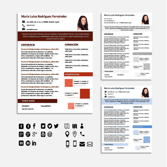 Plantilla de Curriculum Vitae Word, Photoshop y Power Point ...