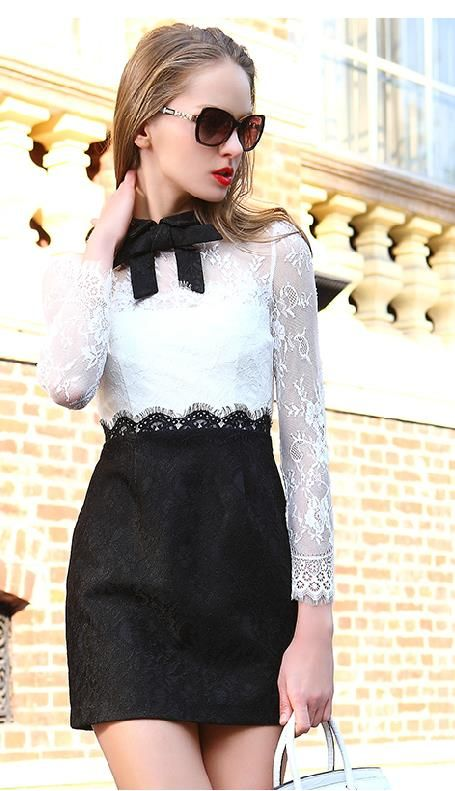 4238af1e33 White Long Sleeve Color Block Lace Dress 29.99 | The Closet: Work ...