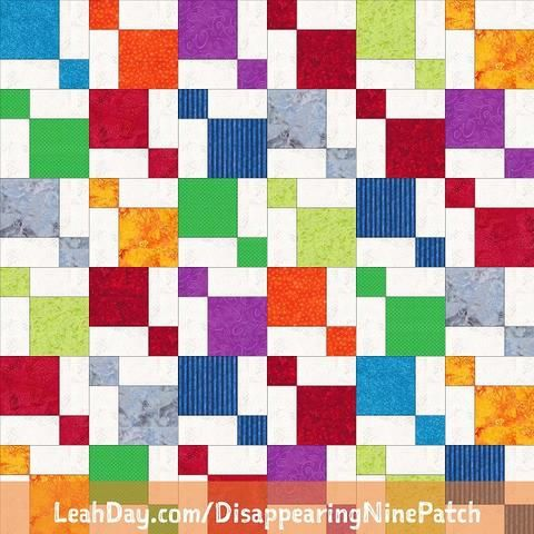 The Free Motion Quilting Project: Disappearing Nine Patch Quilt ... : tossed nine patch quilt pattern - Adamdwight.com