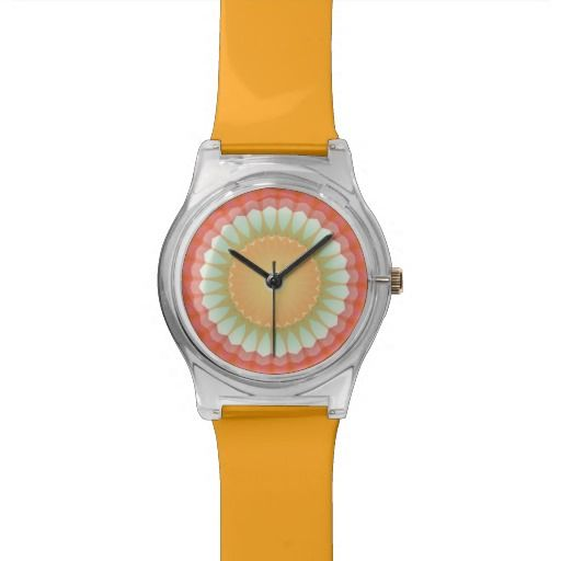 Citrus Sun Kaleidoscope Watch This sunny kaleidoscope design features the pretty colors of citrus with the bright yellow sun shining in the middle...a happy, yummy design! http://www.zazzle.com/citrus_sun_kaleidoscope_watch-256386255059552406