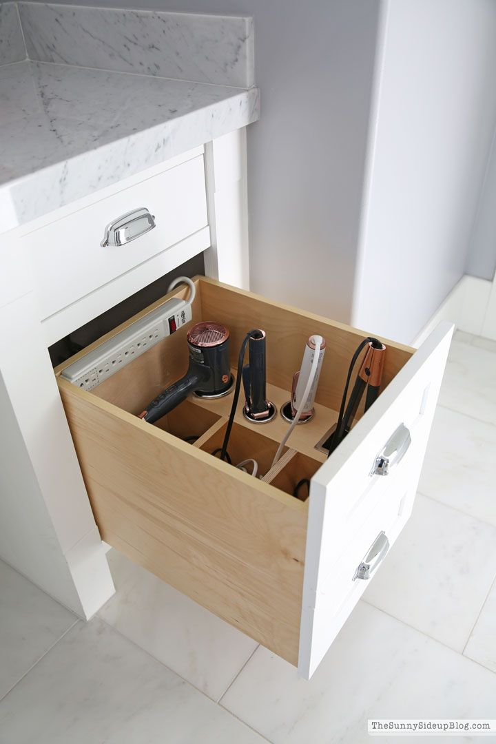 Photo of Organized Bathroom Drawers for Hair Care Appliances- The Sunny Side Up Blog